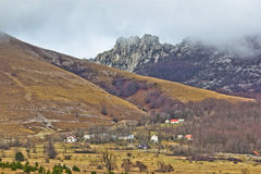 Velebit mountain village in fog Royalty Free Stock Photos