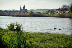 Velehrad basilica and lake with pair of ducks Stock Photos