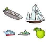 Veleiro antigo, barco de motor, 'trotinette', forro marinho Navios e ícones ajustados da coleção do transporte da água no estilo  Fotos de Stock Royalty Free