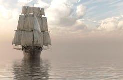 veleiro da ilustração 3D no mar Imagens de Stock