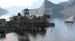 veleiro da ilustração 3D no mar Fotografia de Stock Royalty Free