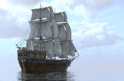 veleiro da ilustração 3D no mar Imagem de Stock Royalty Free