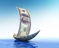 Veleiro feito do dólar Fotografia de Stock
