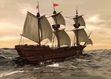Veleiro na ilustração do mar 3D ilustração stock