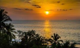 Veleiro que aprecia um por do sol tropical amarelo e alaranjado espetacular Imagem de Stock Royalty Free