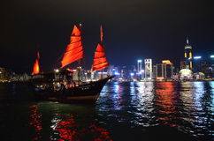 Veleiro tradicional de Hong Kong em Victoria Harbour, Hong Kong Fotografia de Stock Royalty Free