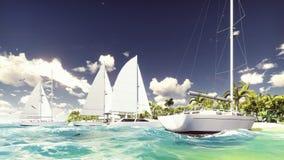 Veleiros na praia de uma ilha de deserto no oceano azul bonito rendição 3d ilustração do vetor