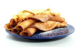 Velen bakten gerolde pannekoeken Stock Foto's