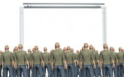 Velen bemannen het bekijken een aanplakbord op wit wordt geïsoleerd dat Royalty-vrije Stock Foto
