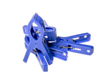 Velen blauwe clothespeg Stock Fotografie