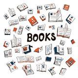 Velen boeken schetsmatige achtergrond vector illustratie