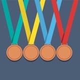Velen bronzen Medailles met Kleurrijk Lint vector illustratie