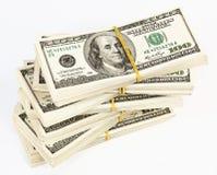 Velen bundel van de V.S. 100 dollarsbankbiljetten Stock Foto