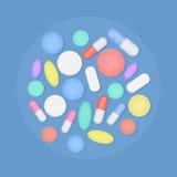 Velen de kleurrijke hoogste geïsoleerde mening van geneeskundepillen vector illustratie