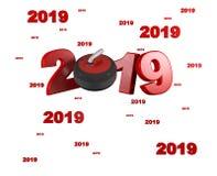 Velen die 2019 Ontwerpen krullen stock illustratie