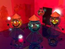velen glimlachen bij de 3D disco stock illustratie