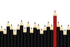 Velen groep zwarte potloden maar rode kleur die van kraai duidelijk uitkomen vector illustratie
