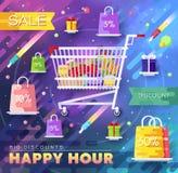 Velen hebben gekocht in de winkel bezwaar Het winkelen abstract concept als achtergrond In de vlakke pictogrammen van de stickers stock illustratie