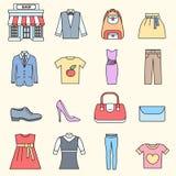 Velen hebben gekocht in de winkel bezwaar Het winkelen cirkel abstract concept als achtergrond In vlakke dunne de stijlpictogramm stock illustratie