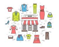 Velen hebben gekocht in de winkel bezwaar Het winkelen cirkel abstract concept als achtergrond In vlakke dunne de stijlpictogramm royalty-vrije illustratie