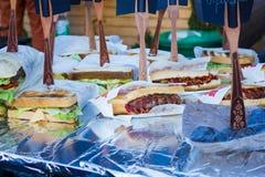 Velen heerlijke verscheidenheid van sandwiches royalty-vrije stock afbeeldingen