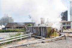 Velen huisvesten rond heet bronwater het koken Royalty-vrije Stock Foto
