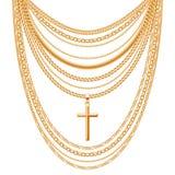 Velen ketenen gouden metaalhalsband stock illustratie