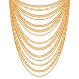 Velen ketenen gouden metaalhalsband vector illustratie