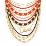 Velen ketenen gouden metaalhalsband royalty-vrije illustratie