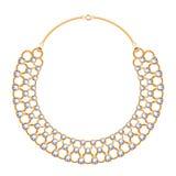 Velen ketenen gouden metaalhalsband met diamanten vector illustratie