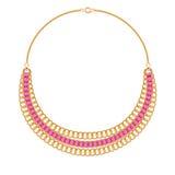 Velen ketenen gouden metaalhalsband met roze linten vector illustratie