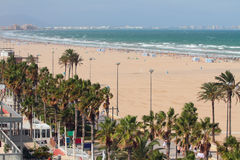 Velen kilometers zandig strand Valencia, Spanje Royalty-vrije Stock Afbeeldingen