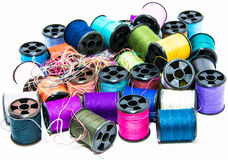 Velen kleur van draden (dichte omhoog ondiepe diepte van gebied) Royalty-vrije Stock Afbeeldingen