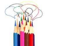 Velen kleuren de tekstvakje van de potloodtekening op wit Royalty-vrije Stock Foto's