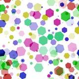 Velen kleuren hexagon bokeh op witte achtergrond Stock Afbeeldingen