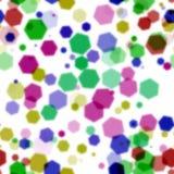 Velen kleuren hexagon bokeh op witte achtergrond Royalty-vrije Stock Fotografie