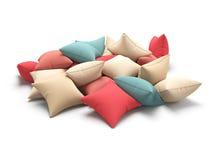Velen kleuren kussens op witte achtergrond 3D Illustratie Royalty-vrije Stock Foto's