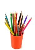 Velen kleuren potloden Stock Afbeelding