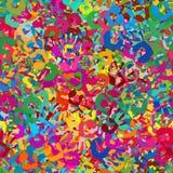 Velen kleurrijke naadloos en tileable handdrukken vector illustratie