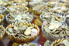 Velen munten voor schenken. Stock Foto