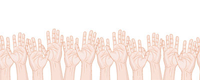 Velen opgeheven handen horizontaal naadloos patroon royalty-vrije illustratie