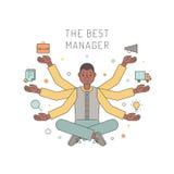 Velen overhandigen Afrikaanse Amerikaanse mensenmanager multicolored vectorillustratie De vectorillustratie, eps10, bevat transpa stock illustratie