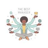 Velen overhandigen Afrikaanse Amerikaanse vrouwenmanager multicolored vectorillustratie De vectorillustratie, eps10, bevat transp royalty-vrije illustratie