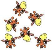 Velen overvallen willekeurig giraffen vector illustratie