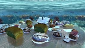 Velen paneren inzameling in onderwaterlijn stock video
