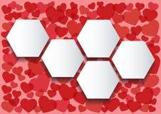 Velen rode het malplaatje van harteninfographics hexagon vectorillustratie als achtergrond stock illustratie