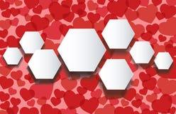 Velen rode het malplaatje van harteninfographics hexagon vectorillustratie als achtergrond vector illustratie