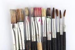 Velen schilderen borstels Royalty-vrije Stock Foto