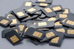 Velen SIM-kaarten zijaanzicht met Royalty-vrije Stock Afbeeldingen