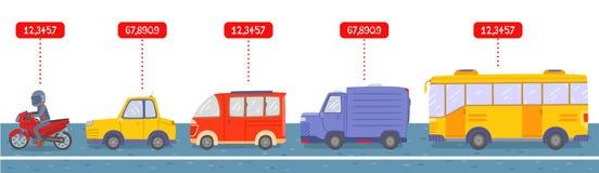 Velen type van voertuig op weg royalty-vrije illustratie